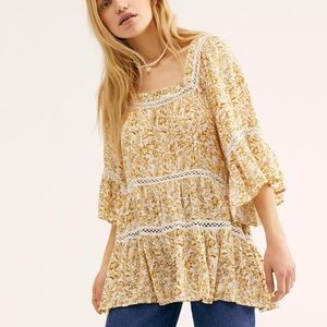 Free People Talk About It Floral Lace Tunic Top